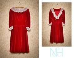 Vintage 1980s HOUSE OF BIANCHI Red Velvet and Lace Formal Dress with Low Back. $36.00, via Etsy. FREE US SHIPPING!