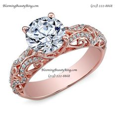 A truly Gorgeous Hand-Made Rose Gold Diamond Engagement Ring BloomingBeautyRing.com  (213) 222-8868 Made In The USA  #RoseGold #EngagementRing WeddingRing