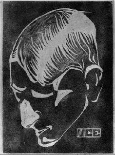 Self-Portrait 1917 Linoleum cut in green and brown