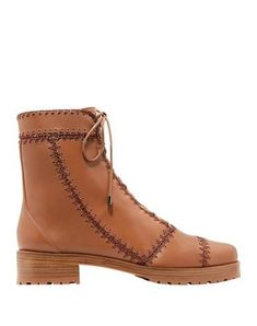 Nappa leather No appliqués Solid color Laces Round toeline Square heel Lined in hair Lug sole Contains non-textile parts of animal origin Brown Ankle Boots, Leather Ankle Boots, Leather And Lace, Soft Leather, A Line Hair, Dinosaur Design, Alexandre Birman, Luxury Branding, Shopping Bag
