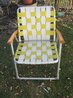 Aluminum Folding Lawn Chair With Webbing. A Staple Of Backyards Everywhere!