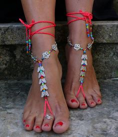 NEON Pink BUTTERFLY barfuss Sandalen Fuß Schmuck Hippie