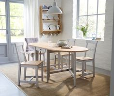 Give your dining room a spring time refresh with one of our brand new table combinations. GAMLEBY table from IKEA extends to seat from 4 to 6 people. Made with solid pine which is a natural material that ages beautifully and acquires its own unique character over time.