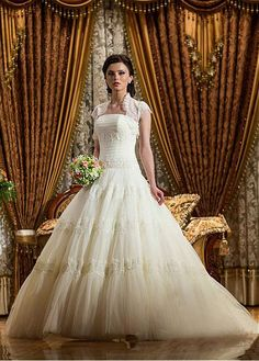 Graceful Tulle Strapless Neckline Dropped Waistline Ball Gown Wedding Dress With Beaded Lace Appliques