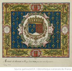 Tapisserie sur laquelle sont peintes les armes de Louis XIII, Roi de France et de Navarre, entourées des colliers de Saint-Michel et du Saint-Esprit