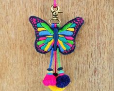 Multicolor butterfly tassel handmade boho bag charm by VLiving Pink Owl, Felt Hearts, Boho Outfits, Canvas Fabric, Hand Embroidery, Tassels, Butterfly, Charmed, Throw Pillows