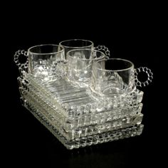Sip Snack Smoke 4 Sets Hazel Atlas Glass Mid Century Vintage