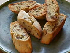 Pistachio Biscotti : With just eight ingredients, Tyler's crunchy cookies are easier than you might think. The dough is baked in logs until just set and then sliced into 1-inch-thick pieces before being put back in the oven to finish cooking.