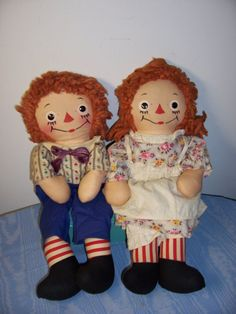 RAGGEDY ANN & ANDY DOLL JOHNNY GRUELE GEORGENE VOLLAND 15 IN
