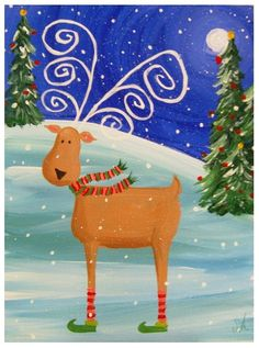 Funky Reindeer Acrylic on Canvas Painting by JoleyWileyFineArt, $29.00