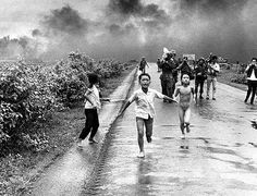 Vietnamese children flee from their homes in Trang Bang June 8th, 1972. A South Vietnamese air force plane has accidentally dropped a napalm bomb on the village 26 miles outside of Saigon. This is without a doubt one of the most remembered images of the war. Twenty-five years later, the young girl running naked from her village, Phan Thi Kim Phuc, was named a UNESCO goodwill ambassador.