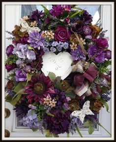 Decorative Floral Wreath by Petal Pusher's Wreaths & Designs. Lovely front door wreath!