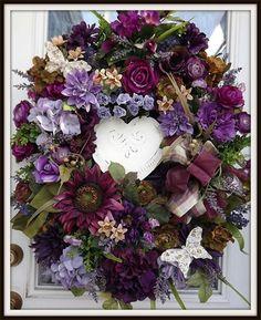 Wreaths: Decorative Door Wreaths, Luxury Christmas Wreaths - Petal Pusher's Home - Maplesville, AL Wreath Crafts, Diy Wreath, Door Wreaths, Wreath Ideas, Purple Wreath, Petal Pushers, Summer Wreath, Spring Wreaths, How To Make Wreaths