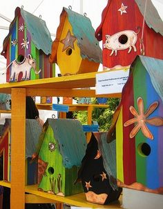 need to find lots of basic wood bird houses so I can paint & decorate them.
