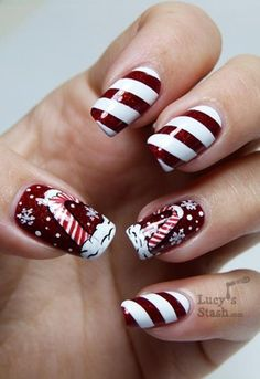 2013 Christmas candy cane nails, Christmas candy cane nails art in 2013, Dark red Christmas nails design in 2013 www.loveitsomuch.com