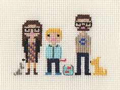 Family Custom Pixel Cross Stitch Portrait by ScarletPyjamas