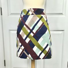 Merona Plaid Skirt Size 4 Colorful Bold Watercolor Short Business Casual Funky #Merona #Mini Plaid Skirts, White Fabrics, Brunei, Plaid Pattern, Business Casual, Ebay Clothing, Colorful, Watercolor, Mini