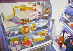 Refrigerator challenge 2 by Jo MacKenzie watercolor original 7x10 unframed