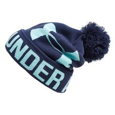 Under Armour Logo Pompom Beanie ($25) ❤ liked on Polyvore featuring accessories, hats, logo beanie, pom pom beanie, pom pom hat, logo beanie hats and brimmed hat