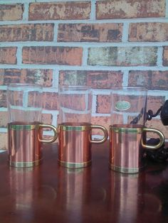 Beucler Copper & Brass Glass Irish Coffee Cups - Set of Three - Free Shipping - andantiques. - $32.00