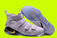 """official photos 94a03 eaf14 Cheap Nike LeBron Soldier 11 """"Court General"""" White Metallic Gold-Black New  Release"""