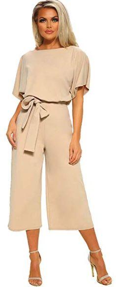 df5e1933b7f Amazon.com  Longwu Women s Elegant High Waist Short Sleeve Jumpsuit Casual  Wide Leg Pants