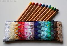 Patchwork Pencil Case  -  tiny triangles