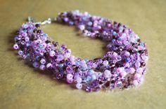 Purple Multistrand NecklaceIllusion Necklace by JewelleryIrozochka
