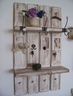 Our designed * Shabby Sweden wardrobe * is the most beautiful .- Our designed * Shabby Sweden wardrobe * is the most beautiful and space-saving… - I. Pallet Crafts, Diy Pallet Projects, Home Projects, Decoration Palette, Reclaimed Wood Kitchen, Diy Home Decor, Room Decor, Pallet Shelves, Home And Deco
