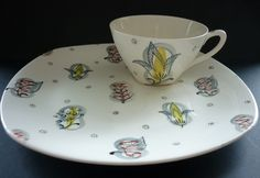 TV cup and tray in the 'Capri' design by Jessie Tait, dating from the mid-1950s. '