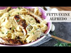 An easy, indulgent pasta meal! Fettuccine is tossed in a creamy, homemade Alfredo sauce and Parmesan and served with succulent strips of grilled chicken. Homemade Alfredo, Alfredo Recipe, Alfredo Sauce, Grilled Chicken Alfredo, Pasta Recipes, Cooking Recipes, Fettuccine Alfredo