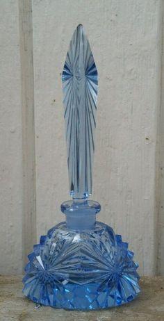 Antique Art Deco Czech Blue Perfume Bottle
