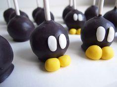 Cake pop bo-omb pour un anniversaire Mario