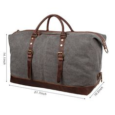 a5eb0f9cc7c9 S-ZONE Oversized Canvas Leather Trim Travel Tote Duffel shoulder handbag  Weekend Bag (Upgraded