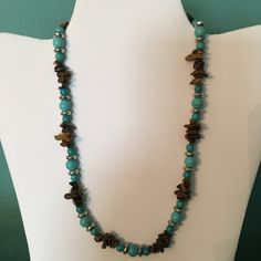 Turquoise, brown and silver necklace by CoolBeadsDesign on Etsy