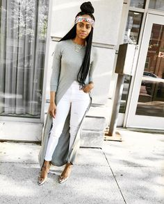 Forever 21 long top, white distressed Old Navy jeans, clear ankle strap heels