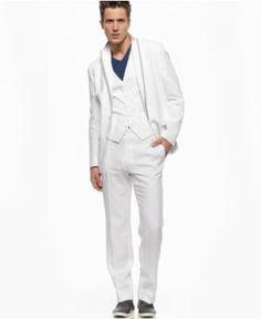 INC International Concepts Suit, Lenny Linen Three Piece Suit - Mens Suits & Suit Separates - Macy's