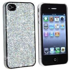 Silver Bling Rubber Hard Skin Cover Case for AT iPhone 4 G