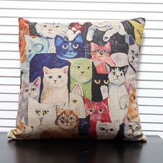 Free shipping high quality linen invisible zipper colorful cat cushion cover cushion case throw pillow case for sofa 45*45cm
