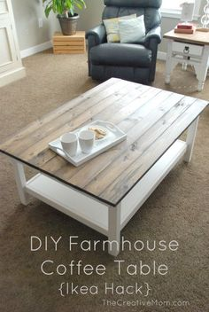 DIY Farmhouse Coffee Table (Ikea Hack) This is a very easy and inexpensive DIY Famhouse Coffee Table. Use an Ikea Table, and update to make your very own planked table. Simple Furniture, Ikea Furniture, Furniture Projects, Furniture Makeover, Furniture Plans, Painted Furniture, Outdoor Furniture, Pallet Furniture, Pallet Projects