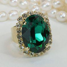 Emerald Cocktail Ring Emerald Green Swarovski Crystal Ring Ivy