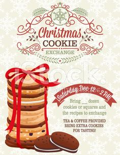 Christmas Cookie Exchange Party Invitation Template royalty-free stock vector art