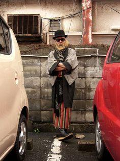 Tokyo fashion shoot featuring a man's haori (traditional silk light jacket)