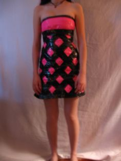 so this is my first duct tape dress. i'm starting a duct tape clothing line by the way. Duct Tape Projects, Duck Tape Crafts, Duck Tape Dress, Duct Tape Clothes, Cute Fashion, Fashion Beauty, Gaffer Tape, Recycled Dress, Designer Dresses