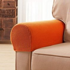 Subrtex Spandex Stretch Fabric Armrest Covers Anti-Slip Furniture Protector Armchair Slipcovers for Recliner Sofa Set of Armchair Slipcover, Dining Chair Slipcovers, Cushions On Sofa, Furniture Covers, Sofa Covers, Modern Furniture, Furniture Design, Orange Home Decor, Rest