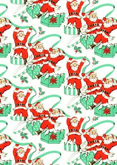 FREE printable vintage Santa Claus pattern paper | Christmas More