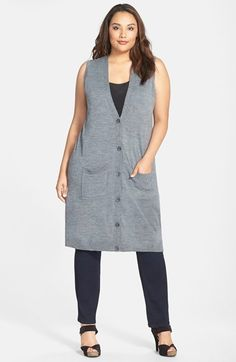 Halogen® Wool Blend Long Sweater Vest (Plus Size) available at #Nordstrom