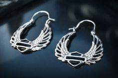 Harley-Davidson Bling Wing Hoop Earrings