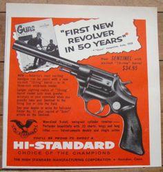 Stunning 1956 Hi Standard Sentinel Hand Gun Pistol Revolver Ad 9 Shot Champion | eBay