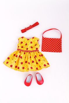 Amazon.com: Let's Go Shopping - Yellow Ladybug Dress with Shopping Bag, Red Shoes and Matching Headband - 18 Inch American Girl Doll Clothes: Toys & Games